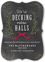 decking the new halls moving announcement 5x7 flat