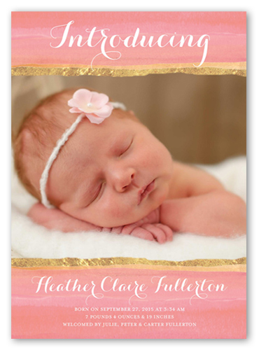 Lovely Watercolor Girl Birth Announcement