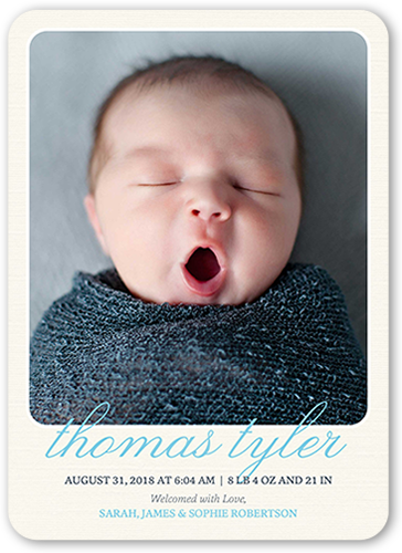 Simple Arrival Boy Birth Announcement