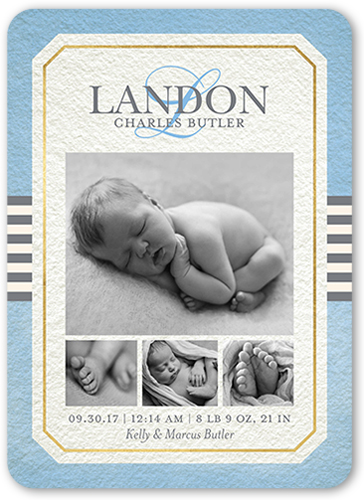 Elegant Perfection Boy Birth Announcement