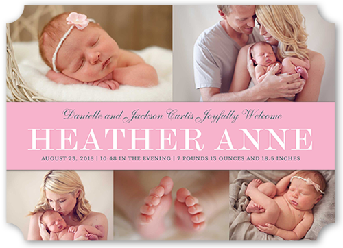 Simple Banner Girl Birth Announcement, Ticket Corners