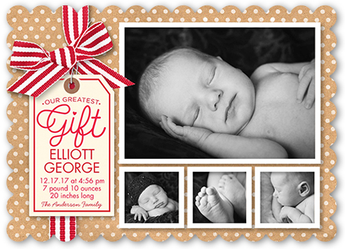 Our Greatest Gift Collage Birth Announcement, Scallop Corners