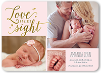 love at first sight girl birth announcement 5x7 flat