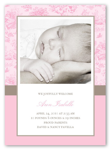 Baby Toile Pink Birth Announcement