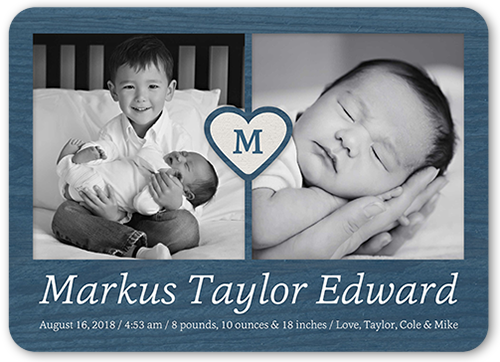 Monogram Heart Boy Birth Announcement, Rounded Corners