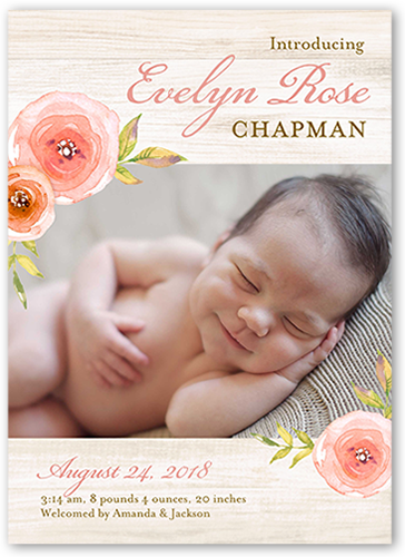 Floral Introduction Birth Announcement