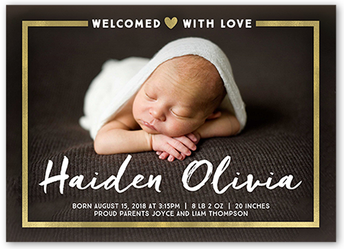 Gilded Introduction Birth Announcement