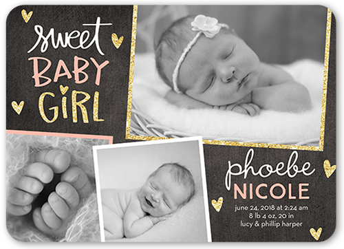 Starry Frames Girl Birth Announcement