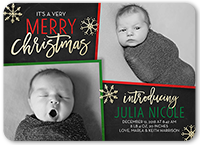 very merry arrival birth announcement 5x7 flat