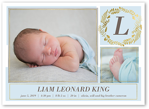 Modern Foliage Boy Birth Announcement, Square Corners