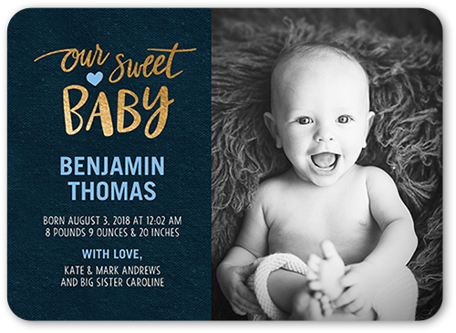 Our Sweet Baby Boy Birth Announcement, Rounded Corners