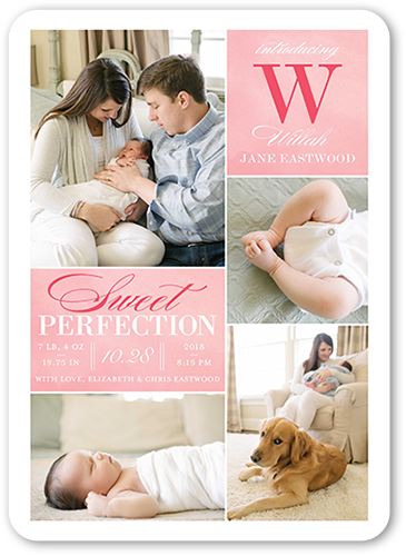 Sweet Perfection Girl Birth Announcement, Rounded Corners