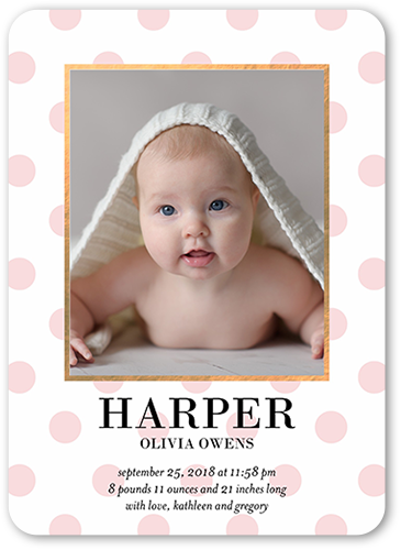 Radiant Dots Girl Birth Announcement