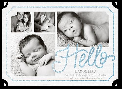 Framed Hello Boy Birth Announcement, Ticket Corners