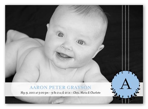 Baby Boy Monogram Birth Announcement