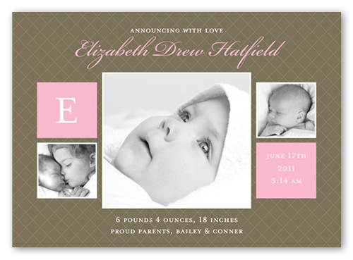 Baby Love Rose Birth Announcement, Square Corners