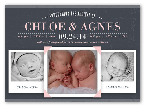 Announcing The Arrival Girl Birth Announcement, Square Corners