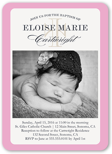 Cross Perfection Girl Baptism Invitation by Yours Truly
