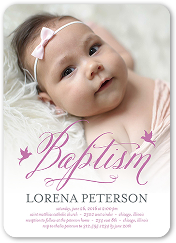 Delicate Celebration Girl 5x7 Invitation Baptism Invitations