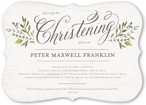 Blessed Branches Boy 5x7 Invitation Baptism Invitations Shutterfly