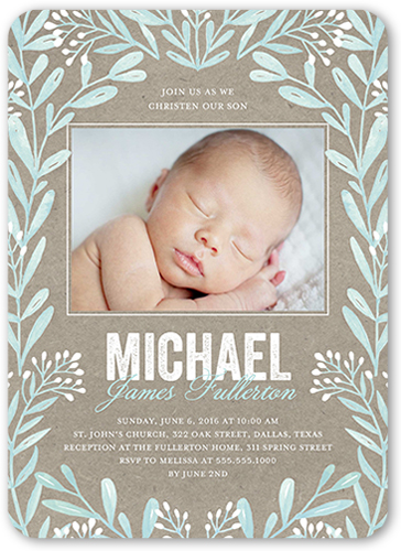 Rustic Frame Boy 5x7 Invitation Baptism Invitations Shutterfly