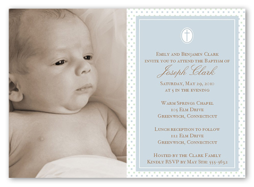 Seraphic Dots Slate Baptism Invitation