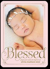 boldly blessed girl baptism invitation 5x7 flat