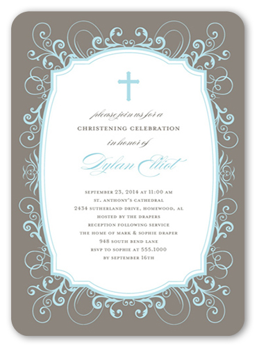 Flourished Border Boy 5x7 Invitation Baptism Invitations Shutterfly