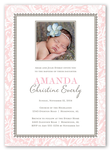 Vintage Blessings Girl Baptism Invitation by Stacy Claire Boyd