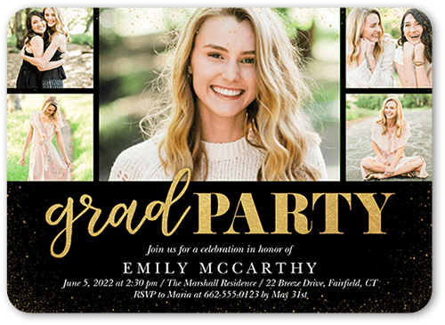Celebratory Grid Graduation Invitation, Rounded Corners