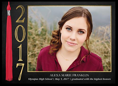 Vertical Tassel Graduation Announcement