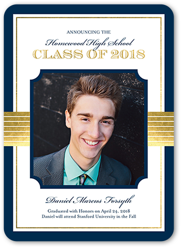 Classy Tradition Graduation Announcement, Rounded Corners
