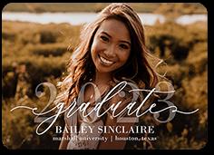 elegant script grad graduation announcement