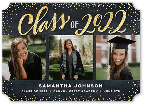 Sparkling Confetti Class 5x7 Graduation Announcement By Stacy Claire Boyd