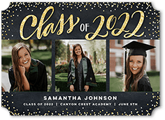 sparkling confetti class graduation announcement