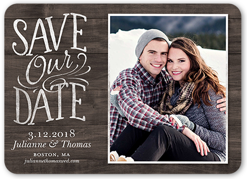 Classy Lettering Save The Date, Rounded Corners