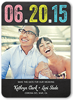 colored chalk date save the date 5x7 flat