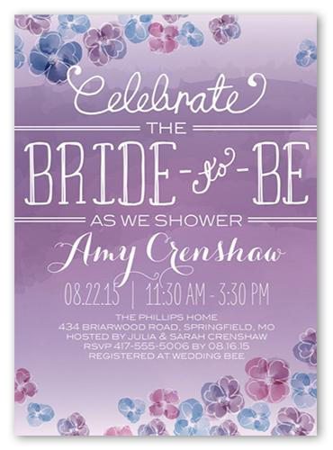 Watercolor Blooms Bridal Shower Invitation, Square