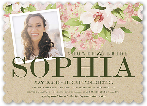Perfect Floral Bridal Shower Invitation, Scallop Corners