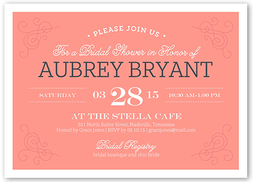 Filigree Fete Bridal Shower Invitation, Square Corners