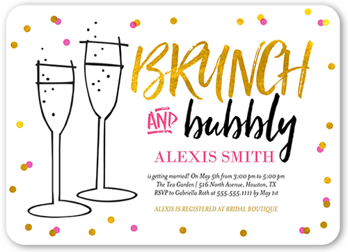 Brunch And Bubbly Bridal Shower Invitation, Rounded Corners
