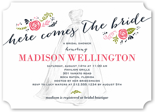 Sunflower bridal shower invitations shutterfly timeless dress bridal shower invitation filmwisefo