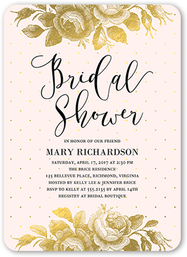Gilded Bouquet Bridal Shower Invitation