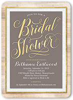 wooden elegance bridal shower invitation 5x7 flat