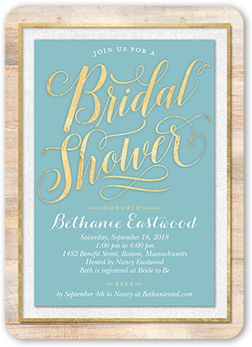 Wooden Elegance Bridal Shower Invitation, Rounded Corners