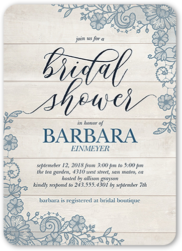 Lovely Lace Frame 5x7 Bridal Shower Invitations Shutterfly