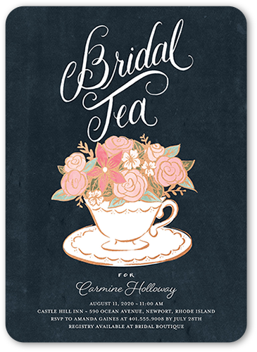 Floral Teacup Bridal Shower Invitation, Rounded Corners
