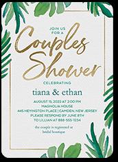 coupled leaves bridal shower invitation