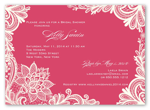 Ornamental Flourish Bridal Shower Invitation, Square Corners