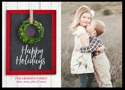 Ribbon Wreath Holiday Card